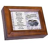 Cottage Garden My Daughter Dark Wood Finish Jewelry Music Box - Plays Tune You Are My Sunshine