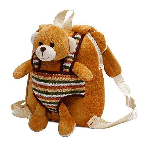 Cute Toy Toddler Backpack – Kids Stuffed Animal Toy Backpack – Kids Backpacks for Boys and Girls with Plush Toy (Brown Teddy Bear) -