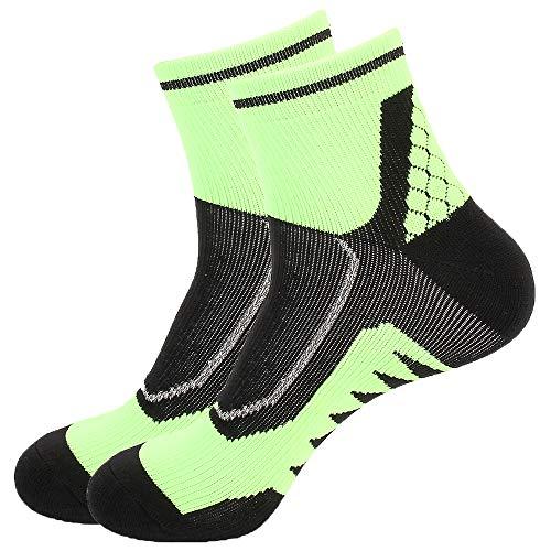 Toes&Feet Men's 2-Pack Green Padded Anti Blister Ankle Athletic Running Socks