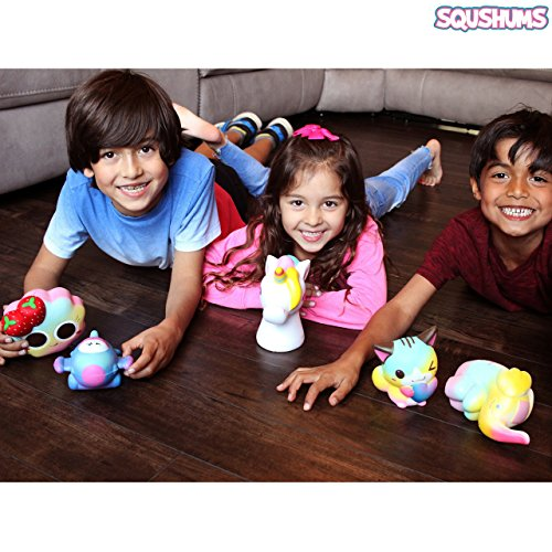 The Original Squishies By Squshums Super Slow Rising, Fruit Scented Jumbo Squishys : 1 Pc Blind Bag : Collect All 5 : Unicorn, Airplane, Heart Cat, Strawberry Cake & Elephant : FREE Carrying Case! Photo #9
