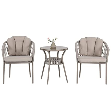 Rope Patio Furniture.Amazon Com Patio Time 3 Piece Windsor Club Arm Chair Set Outdoor