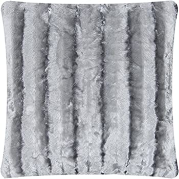 Mellanni Faux-Fur Plush Throw Pillow - BEST QUALITY Fuzzy Accent Pillow - Cushion and Cover, Decorative Square 18 x 18 Inch (Striped Gray)