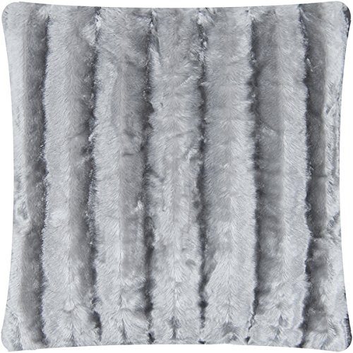 Mellanni Faux-Fur Plush Throw Pillow - BEST QUALITY Fuzzy Accent Pillow - Cushion and Cover, Decorative Square 18 x 18 Inch (Striped Gray) Fur Accent Pillow