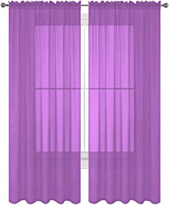 Luxury Discounts 2 PC Solid Rod Pocket Sheer Window Curtain Treatment Drape Voile Panels in Variety of Colors (55