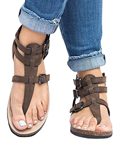Ofenbuy Womens Sandals Strap Gladiator Ankle Flats Roman Thong Flip Flop Shoes