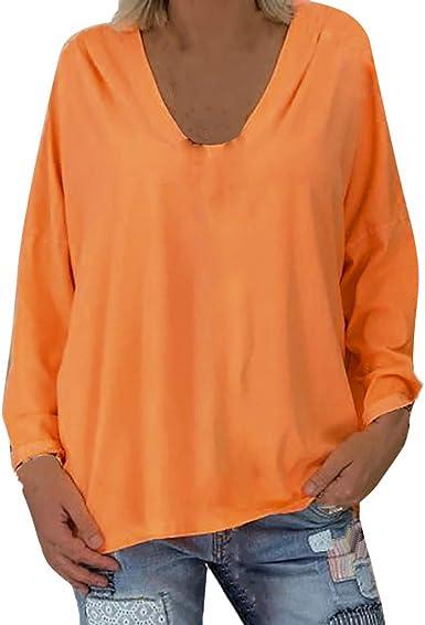 VEMOW Camisetas Mujer Blusa T-Shirt Talla Extra Sólido Manga ...