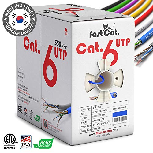 fastCat. Cat6 Ethernet Cable 1000ft - Insulated Bare Copper Wire Internet Cable with Noise Reducing Cross Separator - 550MHZ / 10 Gigabit Speed UTP LAN Cable 1000 ft - Premium CMR Network Cable (Blue)