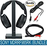 Sony MDRRF985RK Wireless RF Headphone (Black) & Belkin Audio Y Cable Splitter 1-Mini Plug, 2-RCA Plugs (6 feet) Bundle