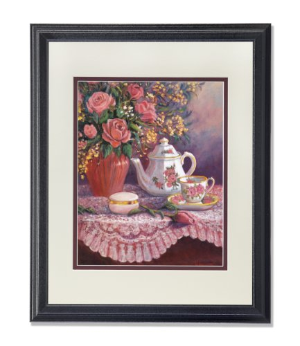 Rose Flower Bouquet with Tea Pot Setting on Table Wall Picture AntW/M Matted Framed Art Print