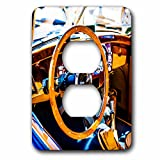 3dRose Alexis Photography - Transport Road - Decorative steering wheel and a compartment of a vintage luxury car - Light Switch Covers - 2 plug outlet cover (lsp_271951_6)