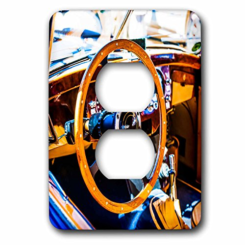 3dRose Alexis Photography - Transport Road - Decorative steering wheel and a compartment of a vintage luxury car - Light Switch Covers - 2 plug outlet cover (lsp_271951_6) by 3dRose