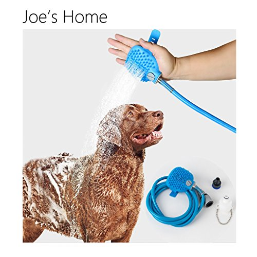 Joe's Home Pet Shower Sprayer and Scrubber in-One Pet Bathing Tool Multi-functional Massage Brush and Bath Hose for Dog Cat Grooming Glove - 8.2 ft Hose - 2 Faucet Adapter, Indoor and Outdoor Use