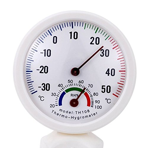 ViewHuge 1PCS In-out Door Thermo-Hygrometer White Round Digital Centigrade Greenhouse Thermometer Hygrometer, 7.5cm(Dia) x2cm(H)