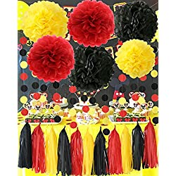 Mickey Mouse Party Supplies Yellow Black Red Tissue Paper Pom Pom Tassel Garland Mickey Garland Mickey Mouse Theme Birthday Party Decorations