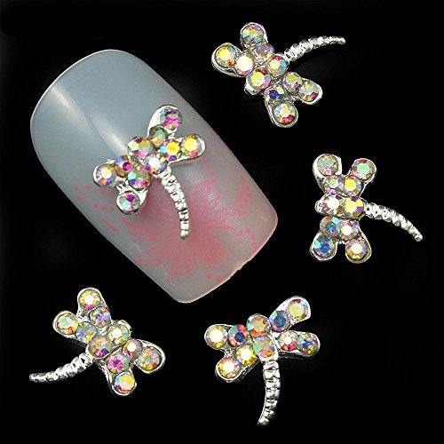 20pcs/pack Colorful Diamonds Dragonfly Metal Rhinestones 3d Nail Art Decorations Alloy Nail Stickers Charms Jewelry for Nail Gel/Polish Tools Scrapbook Decoration ()