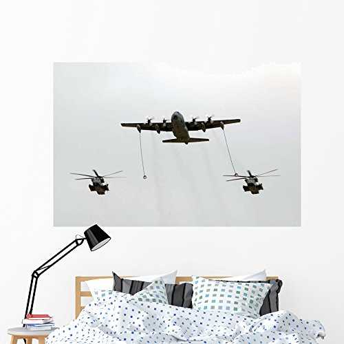 Mh 53j Helicopter - Mc-130w Conducts In-flight Refueling Wall Mural by Wallmonkeys Peel and Stick Graphic (60 in W x 40 in H) WM181252