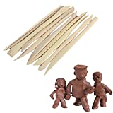 Kurtzy Sculpting Tools 10 Pcs - Ceramic Clay Pottery Sculpting Carving Tool Set - Wooden Clay Modelling Tools, Double ended Sculpture Knife for Professional & Beginners