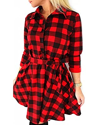 Mansy Women's Casual 3/4 Sleeve Plaid Shirt Blouse Dress with Belt