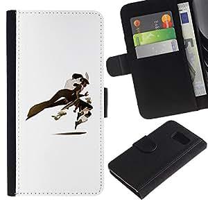 A-type (Blanco Comic héroe personaje de dibujos animados) Colorida Impresión Funda Cuero Monedero Caja Bolsa Cubierta Caja Piel Card Slots Para Samsung Galaxy S6