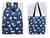 Waterproof Polyester Women Backpack Cute Cat Animal Pattern Printing Girls Daily Travel Knapsack Blue set 15 Inches