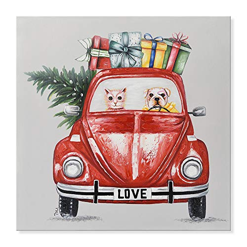 SEVEN WALL ARTS - Modern Hand Painted Oil Painting Cute Animal Giraffe and Dog Driving a Red Car Shopping for Christmas Decorative Artworks Ready to Hang 32 x 32 Inch