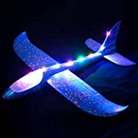 MVR TRADERS White Popcorn LED Lighting Throwing Flying Glider Foam Aerobatic Plane Hand Launch Outdoor Toy for Boys and Girls