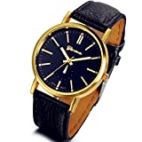 Lancardo Cool Mens Womens Gold Tone Bezel Black Dial Leather Dress Wrist Watches with Gift Bag