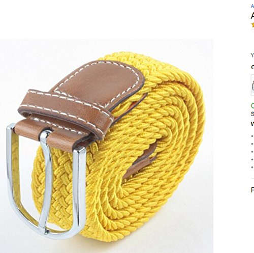 Dealzip Inc Yellow Men Casual Braided Elastic Stretch - Gucci Versace And