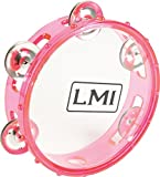 LMI Transparent Tambourine with Head Pink 15CM