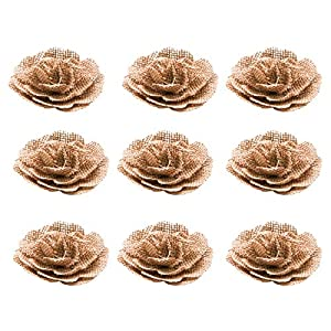 WSSROGY 9 Pack Handmade Jute Burlap Rose Flowers Shabby Chic Flowers Rosettes for Christmas Wedding Party Decoration Hair Accessories Scrapbooking 21