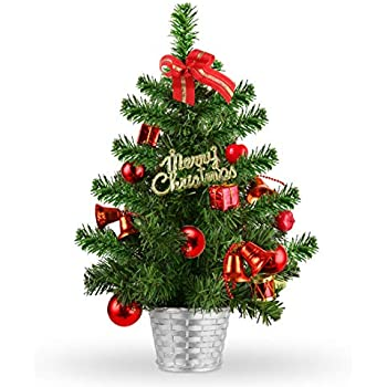 TIOVERY Tabletop Christmas Tree, 18 Inch Mini Small Christmas Pine Tree with Decorated Red Balls Baubles Ornaments and Solid Metal Bowl for Indoor Outdoor Holiday Decoration
