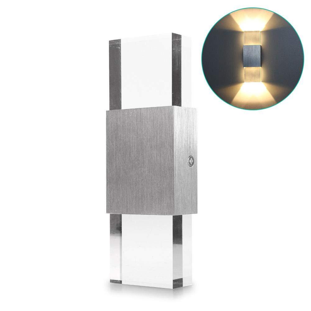 longshow Modern Wall Sconce 2W, Set of 2 LED Lamp Cool White/Warm White, Acrylic Material Mounted Lights Corridor Aisle Aluminum Decorative Rectangular Effect Light
