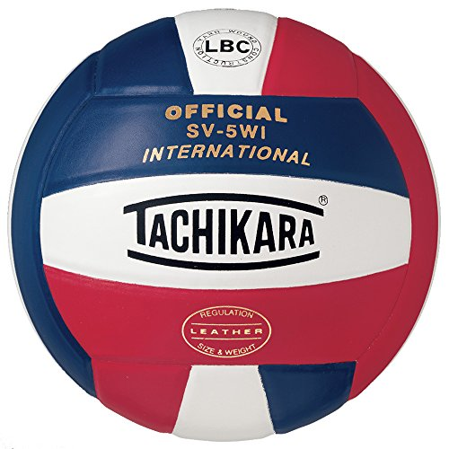 Tachikara SV5WI International Competition Premium Leather Volleyball (Scarlet/White/Navy)