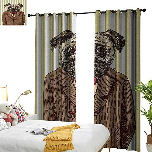 WinfreyDecor Simple Curtain Pug Hand Drawn Sketch of Smart Dressed Dog Jacket Shirt Bow Suit Striped Background Home Garden Bedroom Outdoor Indoor Wall Decorations W120 x L96 Brown Pale Brown