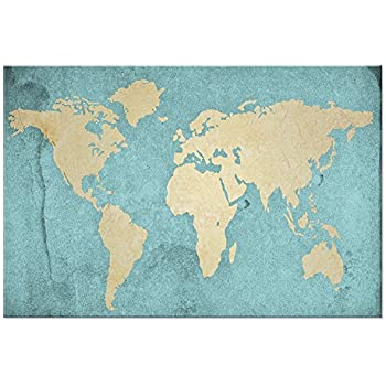 Amazon large size world map canvas prints vintage style large size world map canvas prints vintage style antique blue map of the world wall gumiabroncs Image collections