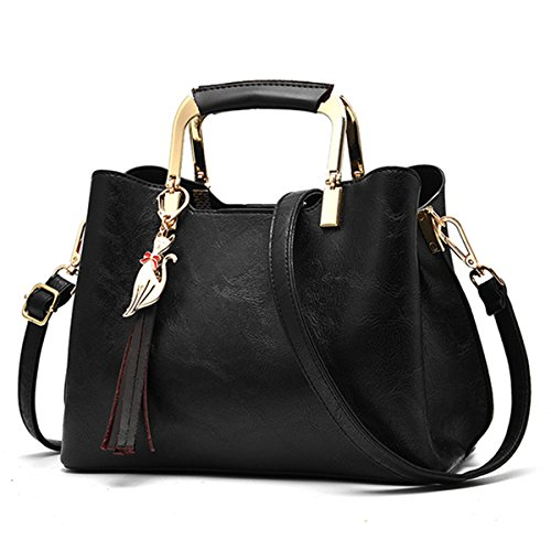 JOSEKO Women's Top Handle Satchel Handbags PU Leather Tote Bags Shoulder Bags Crossbody Bag Black
