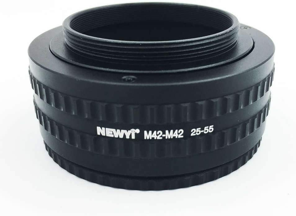 NEWYI M42-M42 Mount Lens 25-55MM Adjustable Focusing Helicoid Macro Tube Adapter Tube Ring ILS