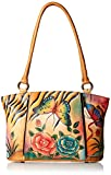 Anuschka Anna Handpainted Leather Large Organizer Tote, Antique Rose Safari
