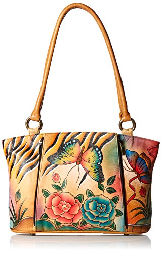 Anna by Anuschka Genuine Leather Organizer Tote | Hand-Painted Original Artwork | Antique Rose Safari ()