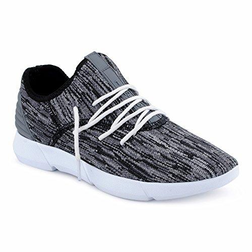FiveSix Herren Sneaker Sportschuhe Laufschuhe Freizeitschuhe Textilschuhe Mehrfarbig Schnürschuhe Low-Top Schuhe Schwarz/Grau/Weiss