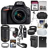 Nikon D5600 Wi-Fi Digital SLR Camera with 18-55mm VR & 70-300mm DX AF-P Lenses + 32GB Card + Case + Flash + Battery & Charger + Tripod + Tele/Wide Lens Kit