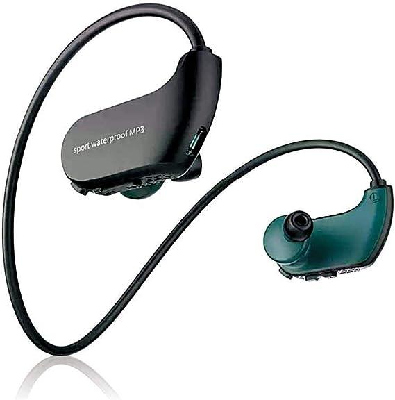 Tenlso IPX8 - Auriculares impermeables, 4 GB/8 GB, Mp3, con cable, para deporte, natación, correr, yoga, bajo el agua, 0.26, color Black 8gb