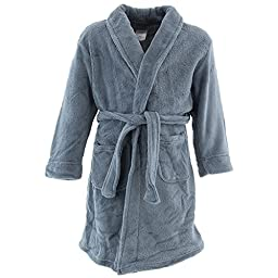 Komar Kids Big Boys\' Fleece Robe Solid Gray, Gray, X-Small