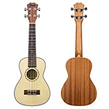 """Mugig Concert Ukulele 4 Strings Spruce Soundboard Rosewood Fretboard Silver Geared Tuners Instrument for Beginners and Advanced (Concert 23"""")"""