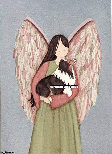 Lynch Tri-Color Sheltie (Shetland Sheepdog) and Angel Folk Art Print