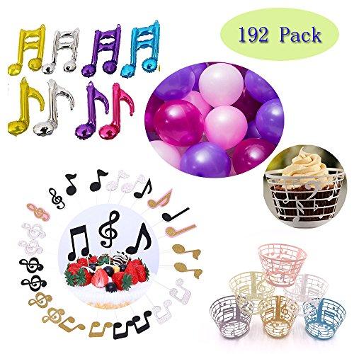 (Set of 204)24Pcs Musical Notes Glitter Cupcake Toppers+72pcs Music Notes Cupcake Wrappers + 100pcs-10