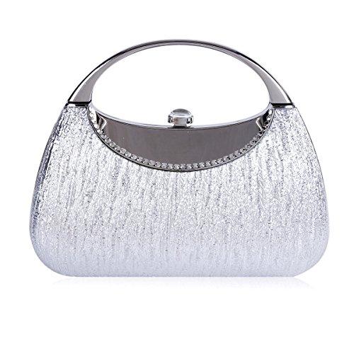 Damara Womens Metal Glittering Crystal Snap Evening Bag Silver