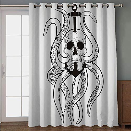 iPrint Blackout Patio Door Curtain,Nautical Decor,Skull Octopus and Anchor Pirate Ocean Classic Tattoo Style Artwork Illustration Decorative,for Sliding & Patio Doors, 102