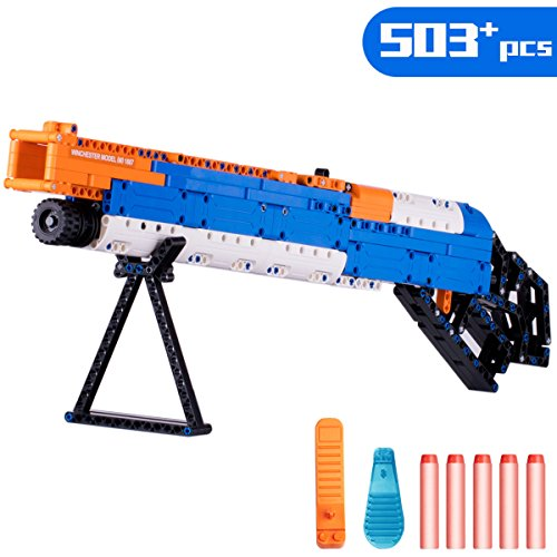 iPlay, iLearn Kids Building Gun Kits, Winchester M1887 Model Blocks Toy Set, Simulated Soft Bullet Shooting Bricks Playset, Gift Collection for Ages 6, 7, 8, 9, 10, 11, 12 Boys Girls Teens Adults by iPlay, iLearn