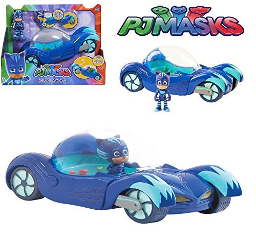 NEW! PJ Masks - DELUXE CAT-CAR VEHICLE - Cat-Car Pouncing Action, Headlights Light Up, Fun Sounds and Phrases from the (Pouncing Cat)